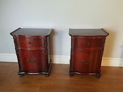 Pair Pagoda Style Mahogany Nightstands by Hellam