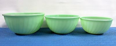 Set 3 Vtg Fire King Jadeite Restaurant Swirl Mixing Bowls Green Anchor Hocking