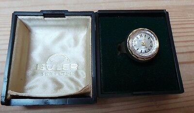 Boxed Buler Vintage Ring Watch 17 Jewels Swiss Made