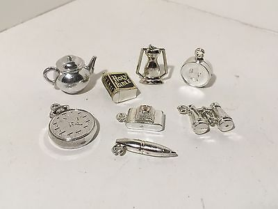Vintage Miniature LOT of 8 Silver Colored Plastic Accessories #15