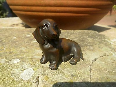 Hand Carved wood netsuke Dachshund dog sitting, vintage / antique style treen