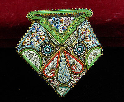 Vtg Exceptional Large Multi-Color Floral MICRO MOSAIC Converted Buckle BROOCH