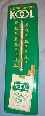 1960's Kool Filter King Cigarettes Store Advertising Tin Litho Sign Thermometer