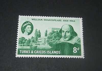 Q.E.II M/NH SET OF 1 TURKS & CAICOS SHAKESPEARE STAMP FROM 1964,,,45p START