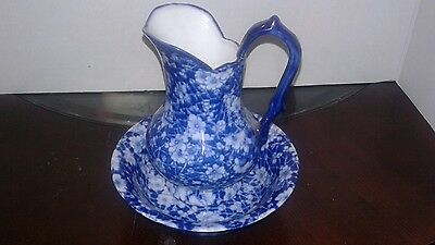 Victoria Ware Blue And White Floral Ironstone Pitcher And Basin