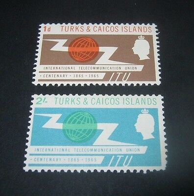Q.E.II M/NH SET OF 2 TURKS & CAICOS I.T.U. 1965 OMNIBUS ISSUES,,ONLY 39p