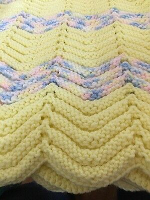 Oversized Baby Afghan Yellow With Pink, White And Blue. Never Used