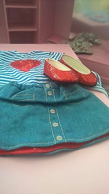 design a friend stunning outfit & sparkling red glitter shoes chad valley 18inch