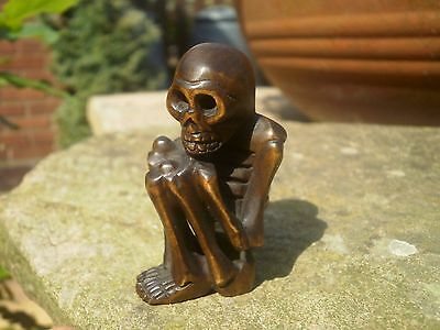 Hand Carved wood netsuke Skeleton sitting, vintage / antique style treen