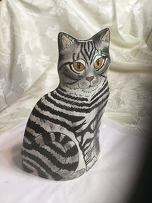 "Cats by Nina Lyman, Black & White Tiger Striped Cat Vase 11.5"" Mint Condition"
