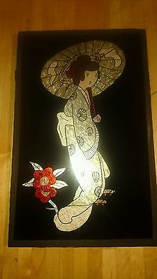 A Stunnin Hand Painted Glass Panel - Stained Hanging Glass Japanese Art Design.