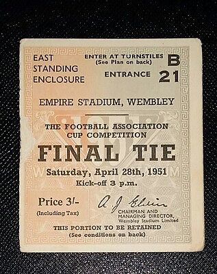 1951 FA Cup final Newcastle United v Blackpool  ticket original