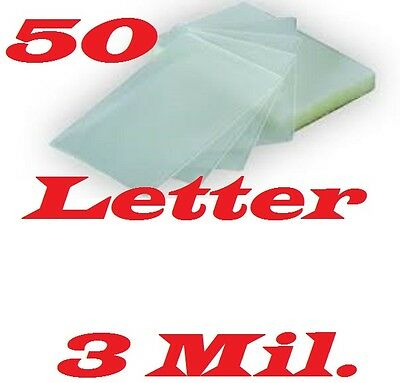 50 LETTER SIZE  Laminating Laminator Pouches Sheets 9 x 11-1/2 3 Mil
