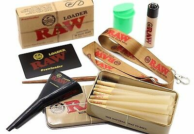 Raw King Size Cone Bundle Raw Loader, Tin, 15 Cones, Lanyard, & Raw Lighter+