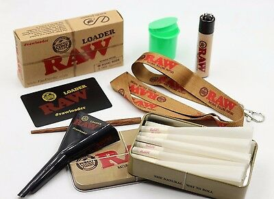 Raw 1 1/4 Cone Bundle Raw Loader, Tin, 25 Cones, Lanyard, & Raw Lighter+