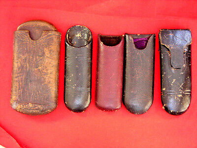 Lot Of 5 Antique Empty Leather Eyeglass Cases
