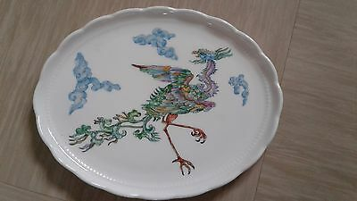 vintage hand painted plate signed K Lamb Japanese dragon with gold deco