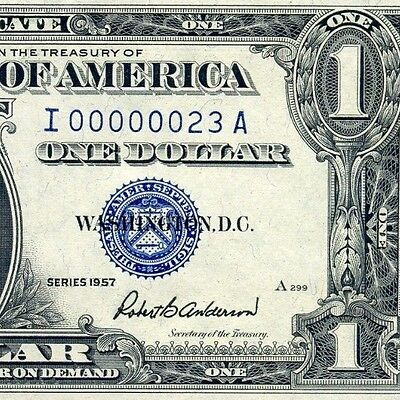 1957 $1 Silver Certificate (( Low Serial # 23 )) Uncirculated # I00000023A