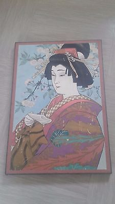 vintage print picture Japanese woman on board signed on front and back