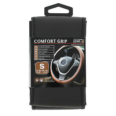 Sumex Comfort Grip Italian Hand Made Black Leather Steering Wheel Cover - SMALL