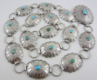 """Beautiful Vintage Sterling Silver & Turquoise 32"""" Concho Link Southwestern Belt"""