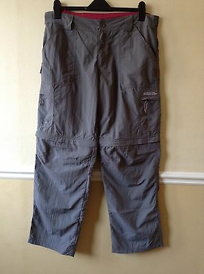 Ladies Mountain Warehouse Terrain Convertible Trousers Grey Zip-off Size 14 VGC