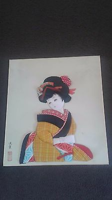 vintage fabric collage Japanese lady signed