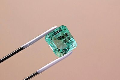 7.4 Carat Square Cut Natural Colombian Emerald Loose Gemstone