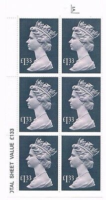 GB High Values 1984 £1.33 in cylinder block of 6, 3B,1A