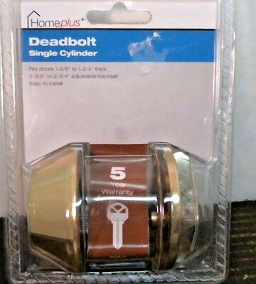 HomePLus+ 5192315 Deadbolt Single Cylinder, Brass,  FREE SHIPPING