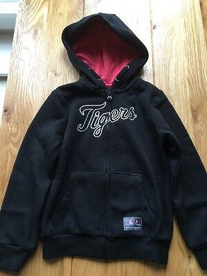 MAJESTIC BASEBALL DETROIT TIGERS GIRLS HOODIE JACKET BLACK SIZE AGE 5-6 Yrs BNWT