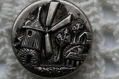 Vintage Metal Picture Button Windmill Collectible
