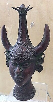 Unusual Indian Antique Bronze Deity Head - A Superb Example