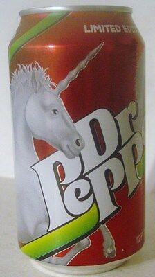 2017   DR PEPPER CAN 12 oz. ( UNICORN LIMITED EDITION  ) BOTTOM OPENED