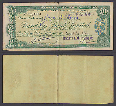 Great Britain 10 Pounds Travellers Cheque 1946 BARCLAYS BANK France