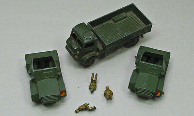 Dinky TOYS (Made in Gt. Britain) 2X 673 SCOUT CAR + 623 ARMY WAGON  FIX OR PARTS
