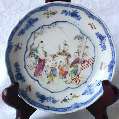 C18Th Chinese Famille Rose Dish With Figures In A Garden Within A Border