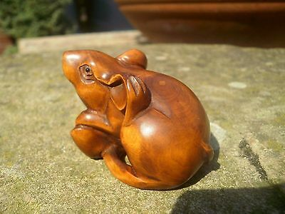 Hand Carved wood netsuke mouse scratches ear, vintage / antique style treen
