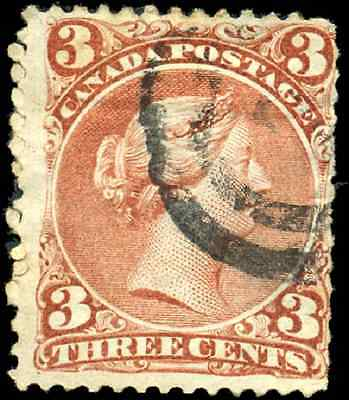Canada #25 used F 1868 Queen Victoria 3c red Large Queen 2-ring cancel