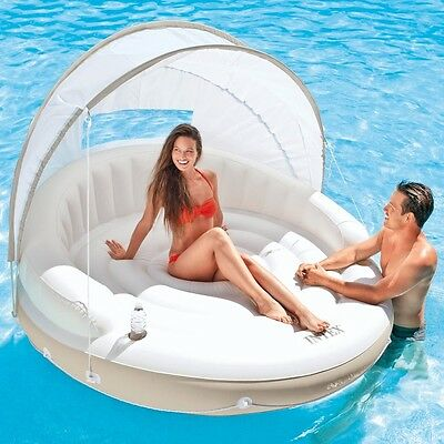 Large Pool Float Swimming Adult Inflatable Chair Lounger Floating Island Raft