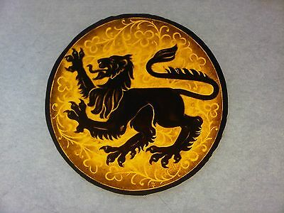 Beautiful Stained glass. LION.Hand painted .Kiln fired.Diameter - 170 mm, New.