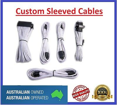 Custom Sleeved PC Cables Kit  Silver White