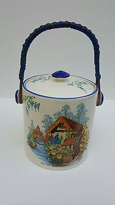 """Falcon Ware Rare  Vintage Biscuits Barrel The Old Mill 5"""" X 5""""  Tall"""
