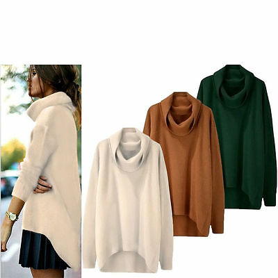 Women Long Sleeve Loose Knitted Jumper Pullover Tops Loose Sweater Coat Neu