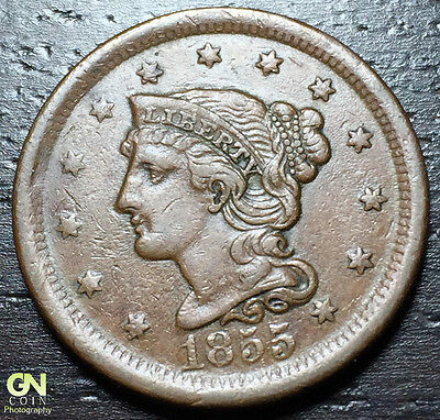 1855 Braided Hair Large Cent --  MAKE US AN OFFER! #W5227 ZXCV