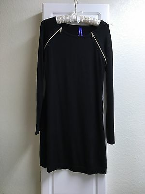 Seraphine Black Knit Maternity/Nursing Dress with Zipper Detail, Size 10