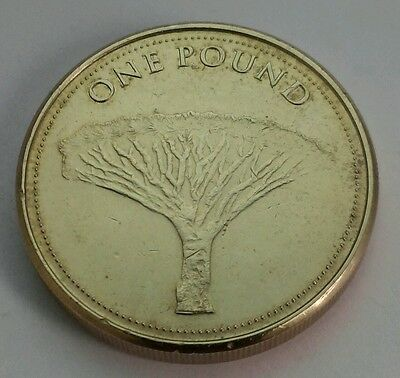 Gibraltar 1 Pound 2014. One Dollar coin. Elizabeth II. Tree.