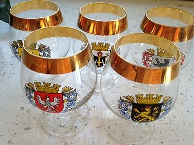 "German Towns Cities Crests 5-4"" Brandy Glasses Gold Trim Munich Berlin + 3 More"