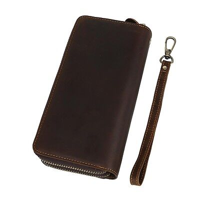 Long Zip-Around Vintage Real Leather Clutch Purse Money Wallet Phone Case Strap