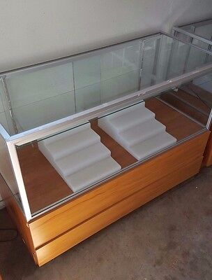 Glass Display Case Retail 48x21x36 with light, adjustable shelf, inserts. NICE!